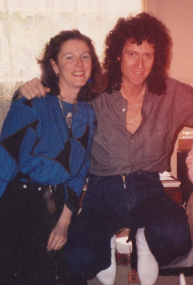 With Brian May of Queen, Nottinghill 1980s