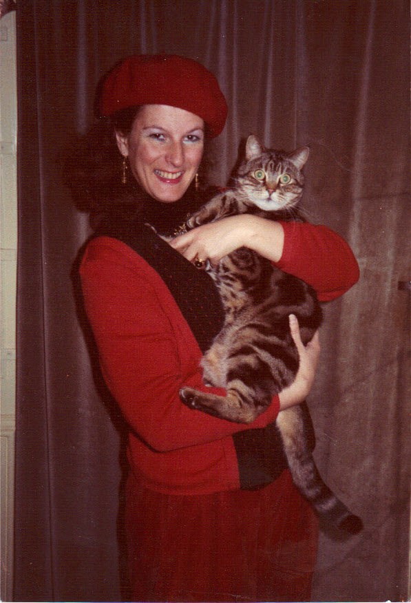 With Tiger the cat, London, 1983