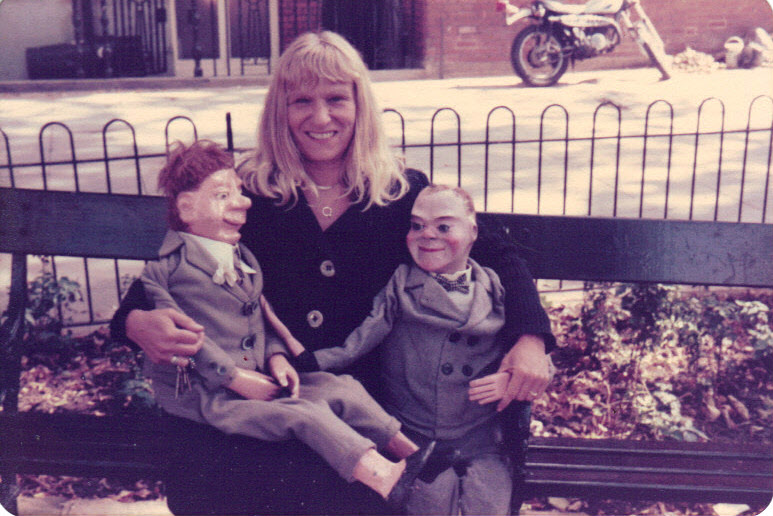 Arlene Hiquily with vent dummies, London, 19970s